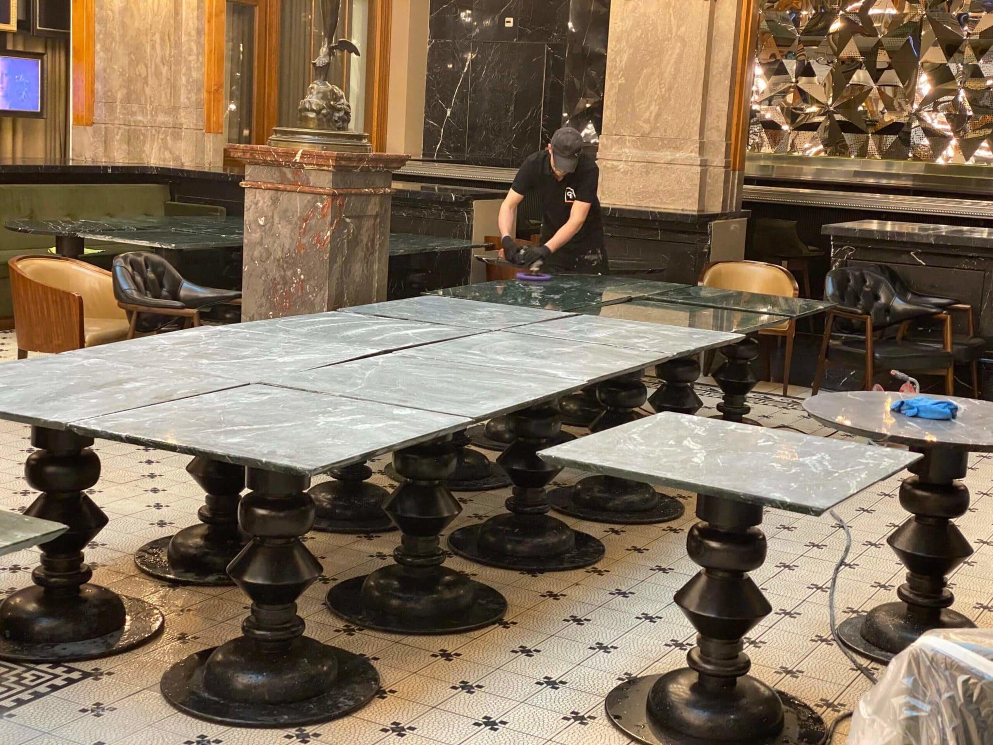 Natuursteen onderhoud tafels marmer